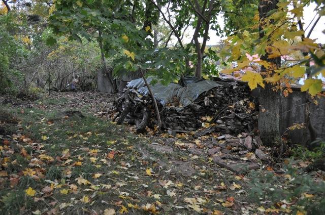 Den allmänna parkmarken annekteras allt vidare av villaägarna. Här har fastighetens vedförråd och bränntunna hamnat i parken!